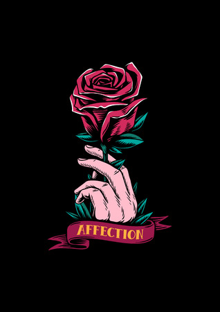Red rose and affection creative illustration