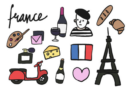 Symbols of France collection illustration Imagens - 104033710