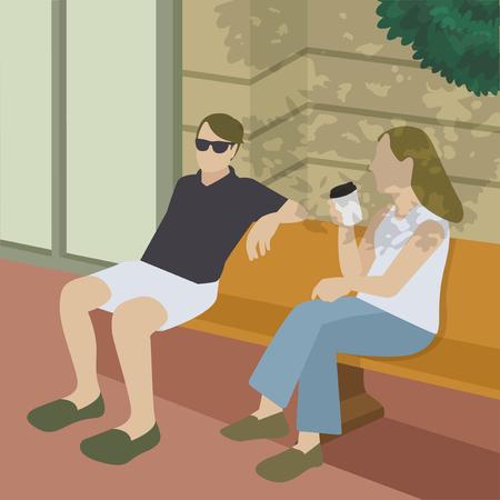 Friends having a coffee illustration Stock Photo