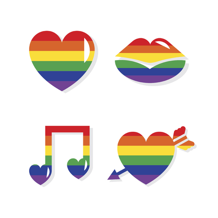 Collection of lgbt Valentines day icons Stock Photo