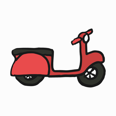 Red scooter illustration on white background