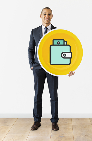 Businessman with a wallet icon