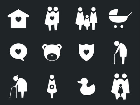 Collection of family icons pictogram illustration Фото со стока - 104035133