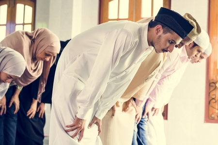Muslim praying at the mosque 스톡 콘텐츠 - 104035681