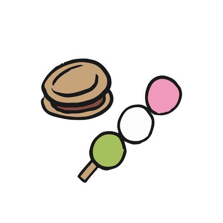 Dango and Dorayaki Japanese desserts illustration Stock Photo