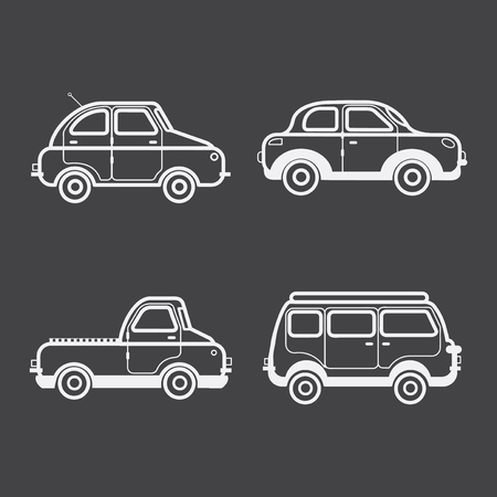 Collection of car and vehicle illustrations Stockfoto