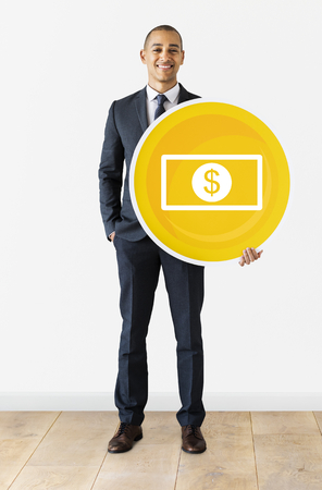 Businessman with a banknote icon