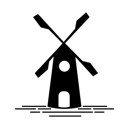 Old style windmill logo illustration Stock Photo