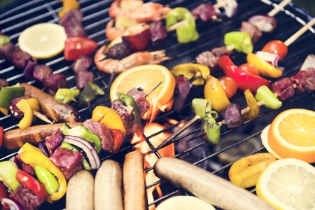 Cooking barbecue on charcoal grill Stock fotó