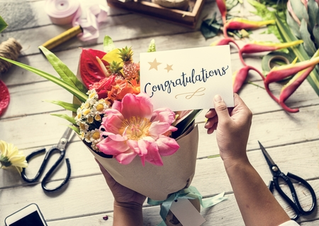 Congratulations card with flower bouquet