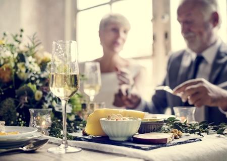 Senior Couple Eating Having Food Together Фото со стока