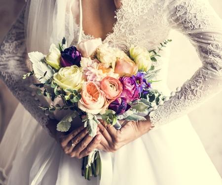 Bride Holding Flower Bouquet Wedding Engagement Ceremony