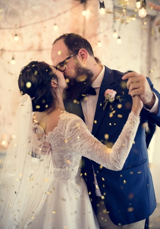 Newlywed Couple Dancing Wedding Celebration Stock Photo - 104736370