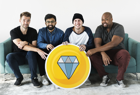 Group of diverse men with a diamond icon