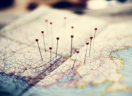 Destinations pinned on a map