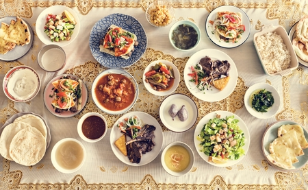 Delicious food for a Ramadan feast Stockfoto - 104737217