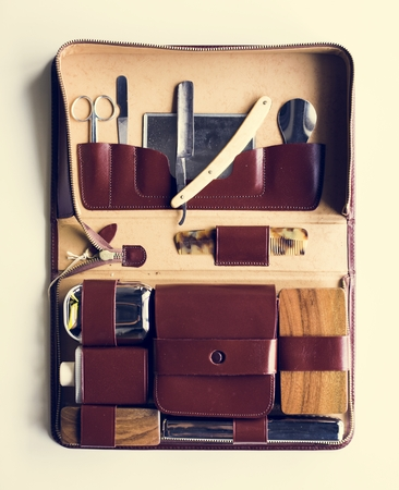 Man shaving kit leather case