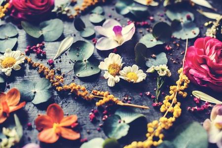 Rustic decorative flowers and leaves Reklamní fotografie