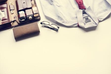Man shaving kit leather case with shirt