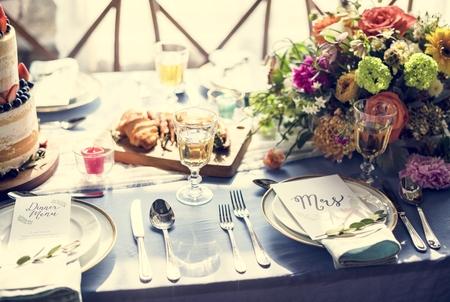 Wedding reception table setting plate with menu Reklamní fotografie