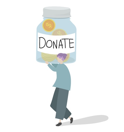 Illustration of a character donating money