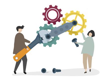 Illustration of characters fixing a cogwheel Stock Illustration - 105390486
