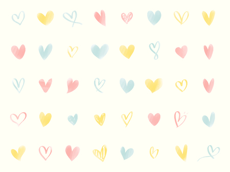 Collection of illustrated heart icons Stock Photo