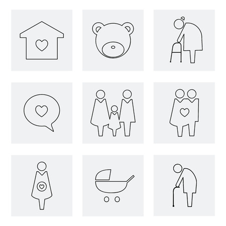 Collection of family icons pictogram illustration Stock Photo