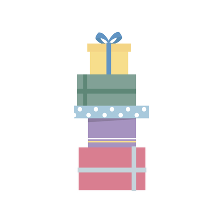 Pile of birthday presents graphic illustration 写真素材