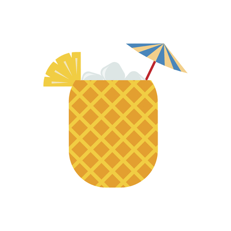 Pineapple juice in pineapple graphic illustration