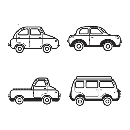 Collection of car and vehicle illustrations Stock Photo
