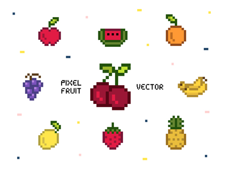 Collection of mixed pixelated fruits Stock Photo