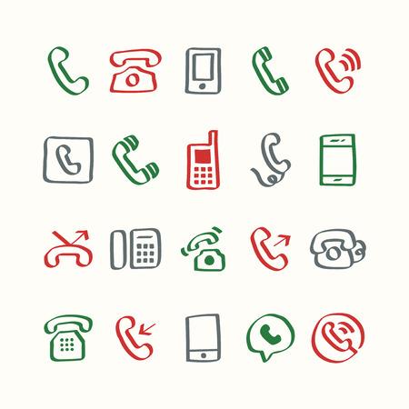 Illustration set of phone icons 写真素材