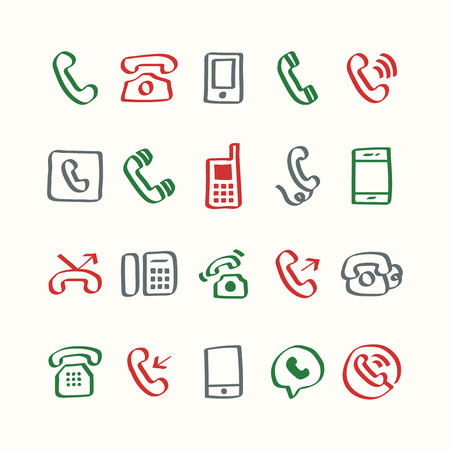 Illustration set of phone icons Stock Photo