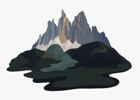Ilustración de paisaje de montaña pintada Foto de archivo