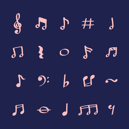 Illustration set of music note icons