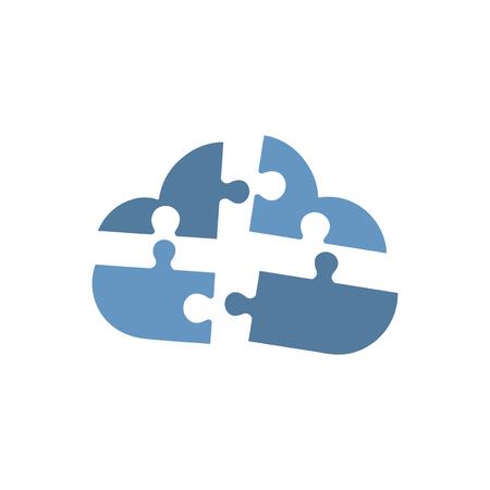 Cloud shaped blue jigsaws graphic illustration