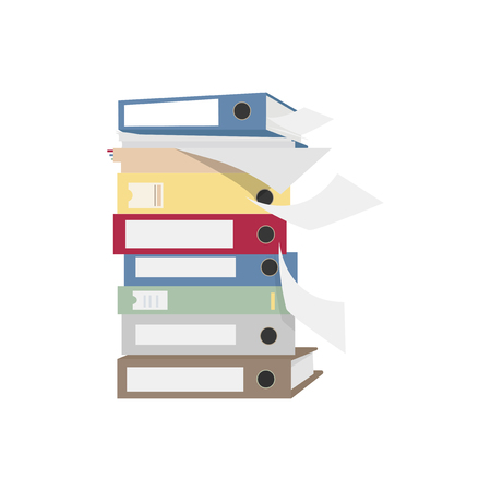 Pile of files and folders graphic illustration Banco de Imagens
