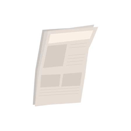 Single newspaper isolated graphic illustration