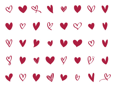 Collection of illustrated heart icons Фото со стока