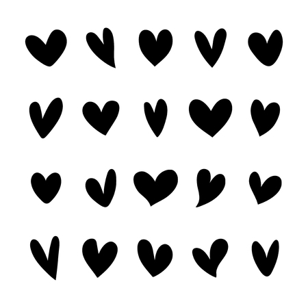 Collection of illustrated heart icons Banco de Imagens