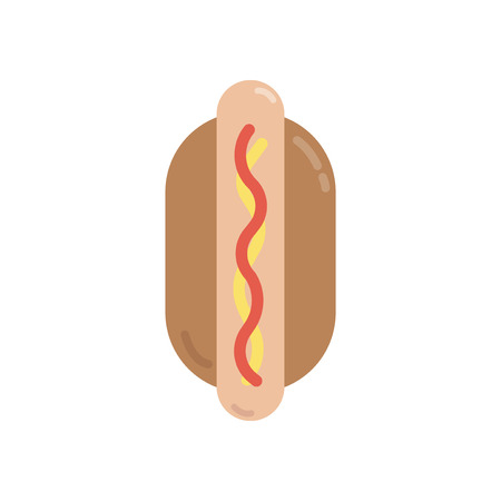 Hotdog in a bun graphic illustration