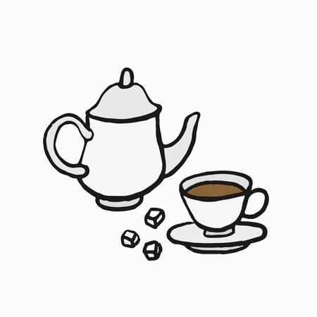 British-style tea culture illustration Stock Photo