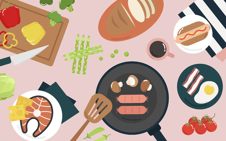 Food and cooking graphic illustration Archivio Fotografico - 105391223