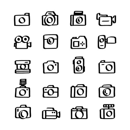 Illustration set of camera icons