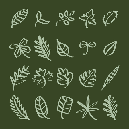 Collection of leaf doodles illustration Stok Fotoğraf