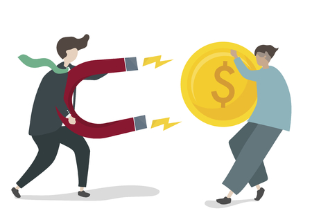 Illustration of character with business investment concept Stok Fotoğraf