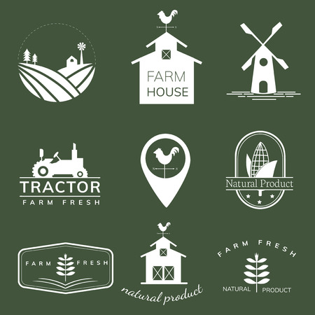 Collection of farming icon illustrations
