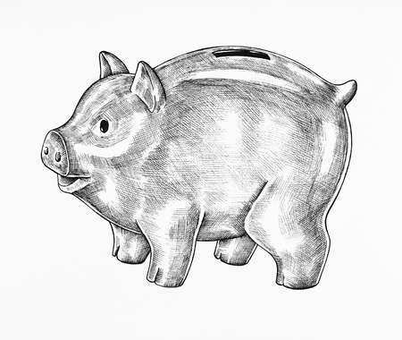 Hand-drawn gray piggy bank illustration