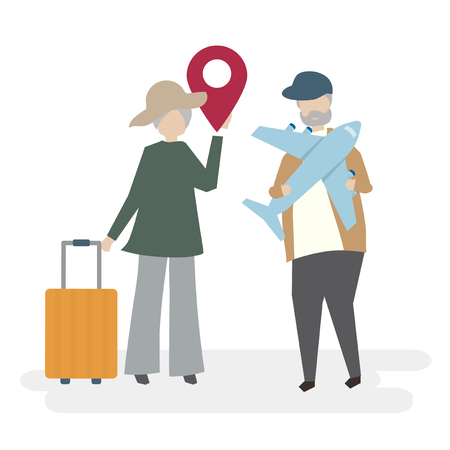 Illustration of senior couple characters with traveling concept Stock Photo